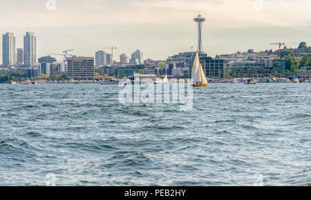 Seattle city skyline with Space Needle from a boat on Lake Union, Seattle Washington - Stock Photo