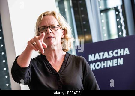 Munich, Bavaria, Germany. 13th Aug, 2018. The Chairperson of the Bavarian SPD NATASCHA KOHNEN revealed today at Munich Olympiapark the SPD campaign for the October 2018 Landtag elections. In addition to the election campaign, Kohnen and the SPD revealed their first placards and a non-dirty campaign against opponents. Kohnen was elected to the position of chairperson (Landesvorsitzende) of the Bavarian SPD in 2017 and is also a deputy leader of the national party. Co-speaker of the presentation was ULI GROETSCH (ULI GRÃ-TSCH) of the Bavarian SPD. The budget for the campaign is said to b - Stock Photo