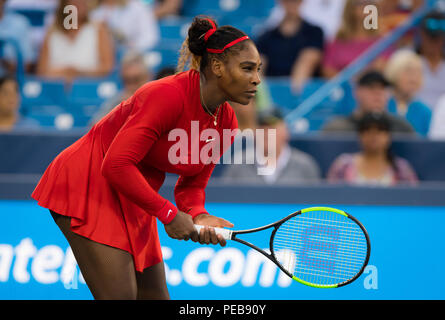 Cincinnati, OH, USA. 13th Aug, 2018. Serena Williams of the United States in action during her first round match at the 2018 Western & Southern Open WTA Premier 5 tennis tournament. Cincinnati, Ohio, USA, August 13th 2018. Credit: AFP7/ZUMA Wire/Alamy Live News - Stock Photo