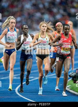 Berlin, Deutschland. 12th Aug, 2018. left to right Eilish MCCOLGAN (GBR/2nd place), Lonah Chemtai SALPETER (Israel/DNF), Konstanze KLOSTERHALFEN, Germany, 4th place, winner Sifan HASSAN (NED/1st place), Yasemin CAN (TUR/3rd place ), Action. Final 5000m of women, on 12.08.2018 European Athletics Championships 2018 in Berlin/Germany from 06.08. - 12.08.2018.   usage worldwide Credit: dpa/Alamy Live News - Stock Photo