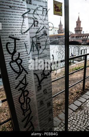 Germany, Berlin. 14th Aug, 2018. The memorial plaques for the dead on the banks of the Spree near the Oberbaum Bridge have been smeared. Unknown sprayers have smeared graffiti on the two plates for the Wall Death and stolen a funeral wreath. The police are investigating for property damage. Credit: Paul Zinken/dpa/Alamy Live News - Stock Photo