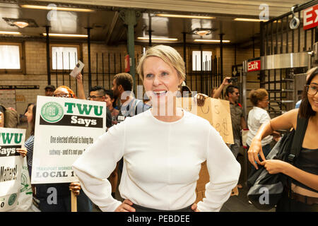 New York, USA - August 14, 2018: Cynthia Nixon campaigns for Democratic Party nomination for New York State Governor on 72nd subway station in Manhattan Credit: lev radin/Alamy Live News - Stock Photo