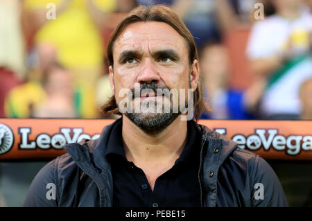 Carrow Road, Norwich, UK. 14th Aug, 2018. Carabao Cup football first round, Norwich City versus Stevenage; Norwich City Manager Daniel Farke Credit: Action Plus Sports/Alamy Live News - Stock Photo