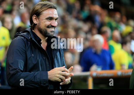 Carrow Road, Norwich, UK. 14th Aug, 2018. Carabao Cup football first round, Norwich City versus Stevenage; Norwich City Manager Daniel Farke smiles Credit: Action Plus Sports/Alamy Live News - Stock Photo