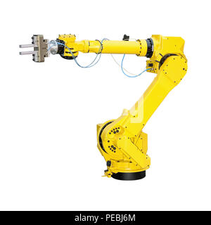 Yellow robot arm for industry isolated included clipping path - Stock Photo
