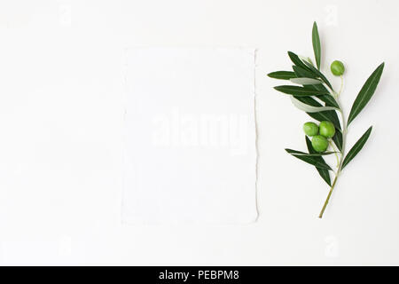 Styled stock photo. Feminine wedding desktop mockup scene with green olive branch and white empty vertical paper card. Foliage composition on white table background. Top view. Flat lay picture. - Stock Photo