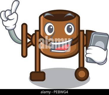 With phone concrete mixer character cartoon - Stock Photo