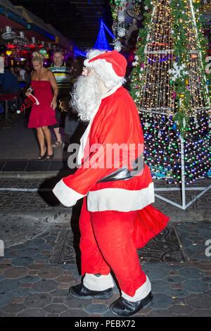 Father Christmas in Walking Street, Pattaya, Thailand - Stock Photo
