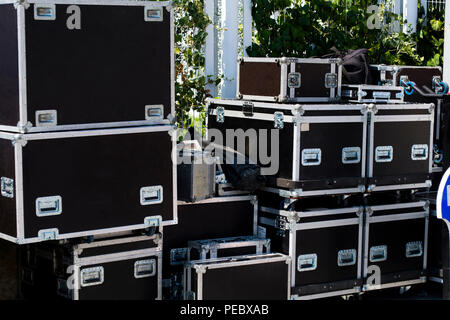 boxes for equipment. preparation for a concert - Stock Photo