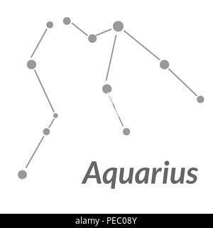 The Water-Bearer aquarius sing. Star constellation element. Age of aquarius constellation zodiac symbol on light white background. - Stock Photo