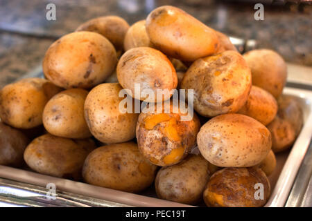 Baked potatoes in peel on a tray - Stock Photo