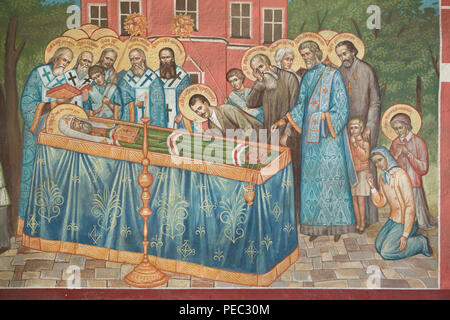 The death of Patriarch Tikhon of Moscow on 7 April 1925 depicted in the mural painting in the west gate of the Donskoy Monastery in Moscow, Russia. - Stock Photo