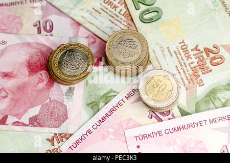 Various Turkish Lira Banknotes and Coins Bunch - Stock Photo