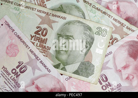Various Turkish Lira Banknotes Coins Bunch. 10 and 20 TL - Stock Photo
