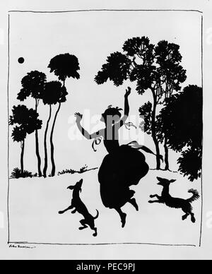Arthur Rackham Cinderella silhouette illustration. - Stock Photo