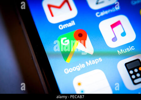 Google maps app icon on iPhone, iOS, smartphone screen, display, close-up, detail, Germany - Stock Photo