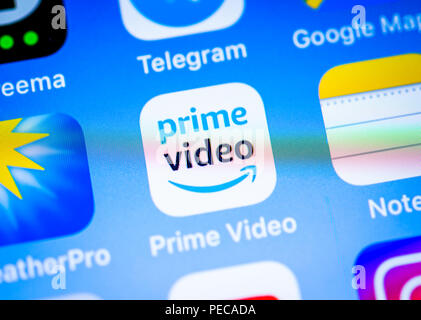 Amazon Prime Video, video streaming service app icon on iPhone, iOS, smartphone screen, display, close-up, detail, Germany - Stock Photo