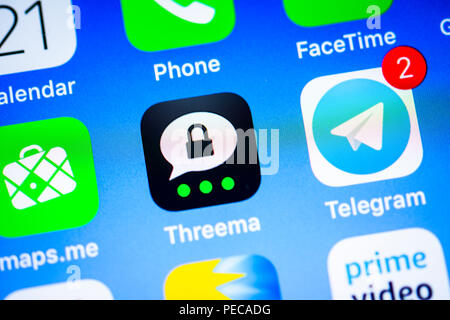 Threema, secure Instant Messenger App, app icon, display, iPhone, iOS, smartphone, display, close-up, detail, Germany - Stock Photo