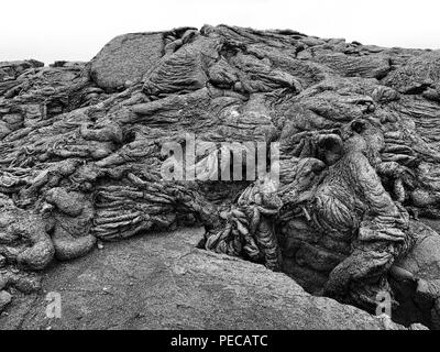 Pahoehoe Volcanic Lava Textures, - Stock Photo