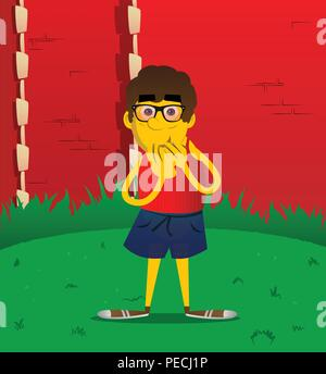 Yellow man with hands over mouth. Vector cartoon illustration. - Stock Photo