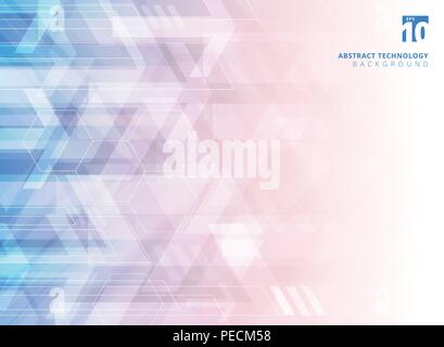 Abstract technology geometric corporate arrows on gradient blue and red background. Vector illustration - Stock Photo