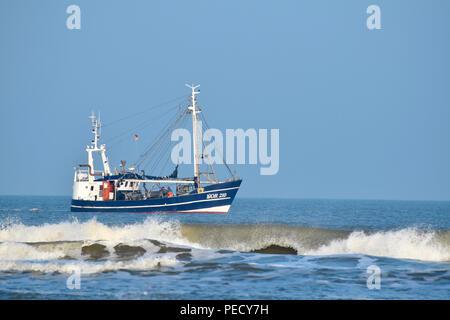 shrimp boat, Juist, National Park Wadden Sea, Lower Saxony, East Frisian Island, Germany - Stock Photo