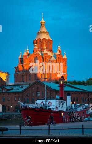 Uspenski Cathedral Helsinki at sunset in summer, June 11. - Stock Photo