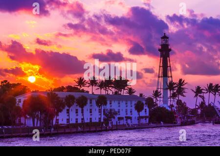 Coast Guard Lighthouse Sunrise - Stock Photo