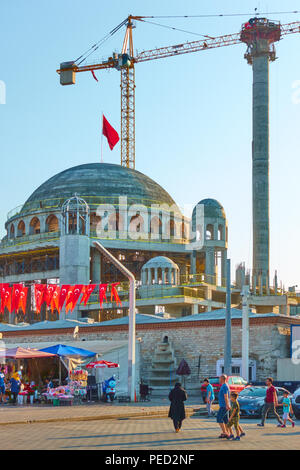 Istanbul, Turkey - July 18, 2018: Construction of new mosque on Taksim Square in Istanbul - Stock Photo