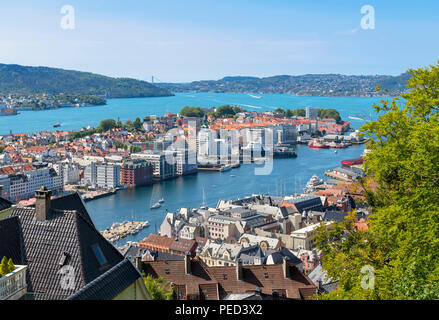 Bergen, Norway. View over the city from the slopes of Mount Fløyen, Bergen, Hordaland, Norway - Stock Photo