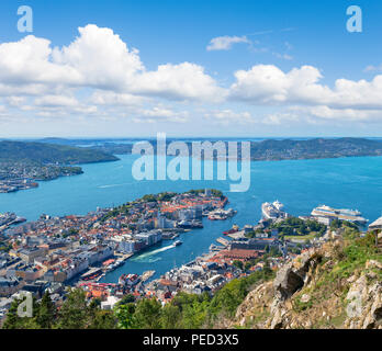 Bergen, Norway. View over the city from the the Fløyfjellet viewpoint a the top of Mount Fløyen, Bergen, Hordaland, Norway - Stock Photo