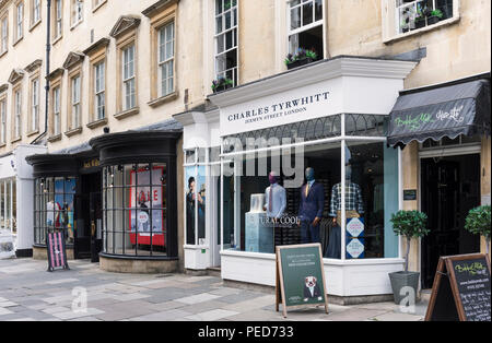 Charles Tyrwhitt and Jack Wills stores in Old Bond St, Bath, England - Stock Photo
