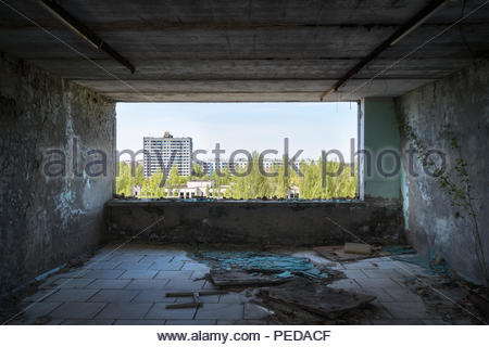 Indoor at the Abandoned city of Pripyat in Chernobyl. - Stock Photo