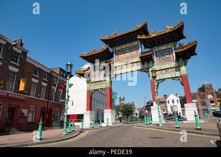 Chines Arch at the head of Nelson STreet in Liverpools Chinatown district. - Stock Photo