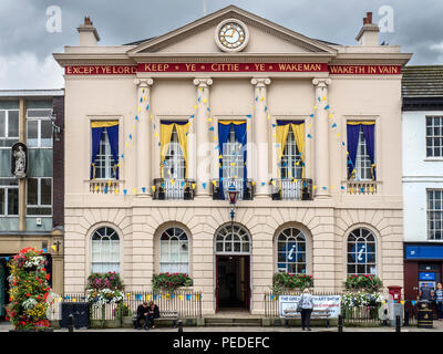 Town Hall with inscription Except Ye Lord Keep Ye Cittie Ye Wakeman Waketh In Vain in Ripon Yorkshire England - Stock Photo