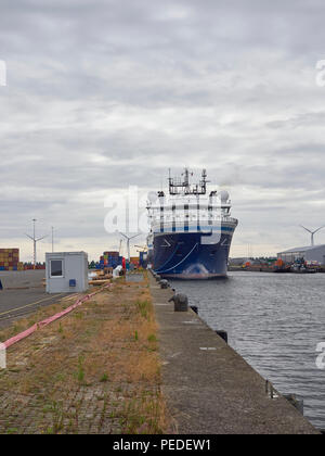 The Geo Caribbean moored up alongside the Quay at the Container Terminal in Den Haag, near Amsterdam, The Netherlands. Head on Picture. - Stock Photo