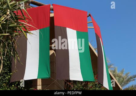 United Arab Emirates national flags in Dubai. - Stock Photo