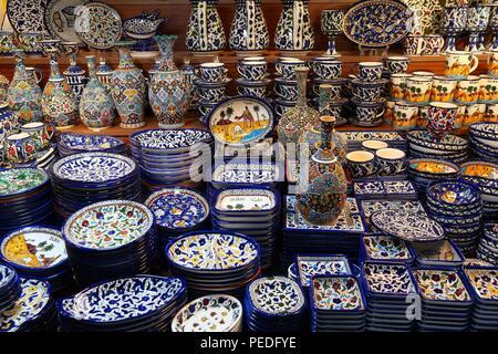 DUBAI, UAE - NOVEMBER 23, 2017: Traditional Arabic style ceramics at Souk Madinat Jumeirah in Dubai. The traditional Arab style bazaar is part of Madi - Stock Photo