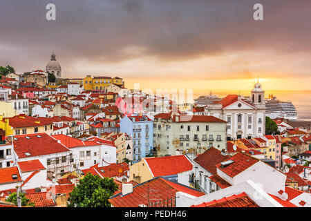 Lisbon, Portugal city skyline over the Alfama district. - Stock Photo