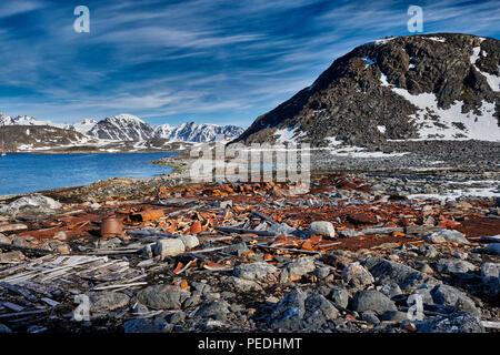 rusty remains on historical site of Virgohamna, Svalbard or Spitsbergen, Europe - Stock Photo