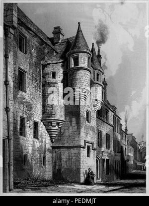Black and white engraving, depicting an angled view of the medieval facade of 'School Hill' at The University and King's College of Aberdeen, located in Scotland, with a woman holding a basket in the foreground, drawn by RW Billings and engraved by J Sadler, 1845. Courtesy Internet Archive. () - Stock Photo