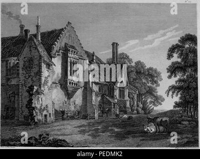 Black and white engraving, depicting an angled view of the decaying facade of 'Castle Acre Priory' a medieval, Cluniac priory located in Castle Acre, Norfolk, England, with cows and other livestock standing and sitting in the foreground, drawn by T Hearne and engraved by W Byrne and S Middiman, 1825. Courtesy Internet Archive. () - Stock Photo