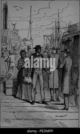 Black and white print depicting abolitionist, reform leader, writer and statesman Frederick Douglass, arriving at the wharf in Newport, Rhode Island, Douglass, wearing a wide brim hat, striped trousers, a checked waistcoat and dark jacket, and carrying a small package, turns to speak with two men while a woman in Victorian dress looks on from behind, with ships and people visible in the background, 1882. Courtesy Internet Archive. () - Stock Photo