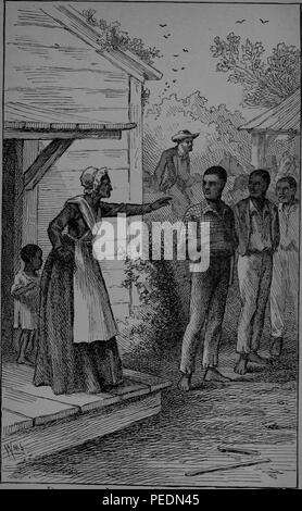 Black and white print depicting Mrs Betsey Freeland, a slim woman wearing a Victorian dress, white cap, and apron, pointing her finger as she chastises abolitionist, reform leader, writer, and statesman, Frederick Douglass, for encouraging several young men to try to run away from their slave owner, with a small boy behind her and three men at right, presumably with Douglass at center, shoeless and wearing a checked shirt, with a white man visible in the background, 1882. Courtesy Internet Archive. ()