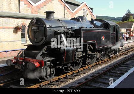 42073 runs round at Lakeside station on the Lakeside & Haverthwaite Railway. - Stock Photo