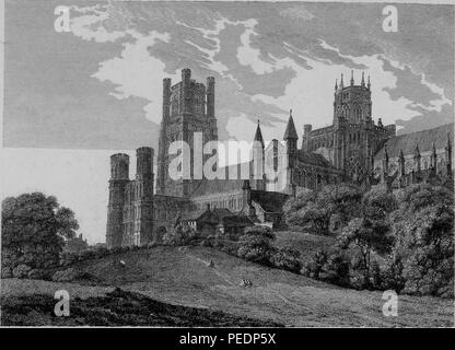 Black and white print showing an angled view of the exterior facade of 'Ely Cathedral, ' a Romanesque and Gothic style Anglican cathedral located in the city of Ely, Cambridgeshire, England, with rolling hills and trees in the foreground, engraved by William Byrne after a drawing by T Hearne, 1825. Courtesy Internet Archive. () - Stock Photo
