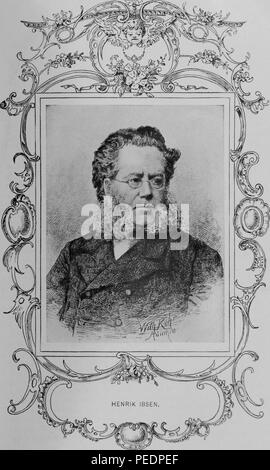 Black and white print depicting the father of theatrical realism, Norwegian playwright, poet, and theatre director, Henrik Johan Ibsen, shown from the chest up, with a long, bushy, muttonchop beard, wire-rimmed glasses, a double-breasted jacket, and a serious expression on his face, published in the volume 'Library of the World's Best Literature, Ancient and Modern', 1902. Courtesy Internet Archive. () - Stock Photo