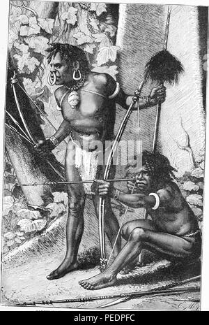Black and white print depicting a pair of Papuan men, both armed with bows, arrows, and spears, and wearing loincloths and bracelets, the standing man wears a large shell necklace, earrings and a nose ring, drawn by E Mesples from an original photograph, and published in John Clark Ridpath's volume 'Ridpath's Universal history', 1897. Courtesy Internet Archive. () - Stock Photo