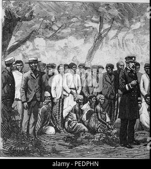 Left half of a larger black and white print illustrating members of an expedition travelling to the Cape of Good Hope, a peninsula on the Atlantic side of South Africa, with a European captain in the center foreground, a large group of both African men standing in a line behind him, and several African women seated at midground, from the volume 'De Angola a contra-costa, descripcao de uma viagem atravez do continente africano', 1886. Courtesy Internet Archive. () - Stock Photo