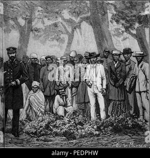 Right half of a larger black and white print illustrating members of an expedition travelling to the Cape of Good Hope, a peninsula on the Atlantic side of South Africa, with a European captain in the foreground, and a large group of both African men and women standing in a line behind him, with several more Africans seated at midground, from the volume 'De Angola a contra-costa, descripcao de uma viagem atravez do continente africano', part of the infamous Triangle Trade, 1886. Courtesy Internet Archive. () - Stock Photo